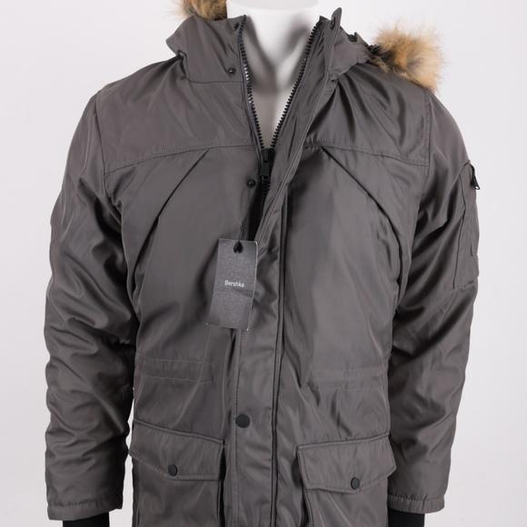 Mens Grey Parka Coat